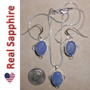 SAPPHIRE earrings necklace SET 102-11